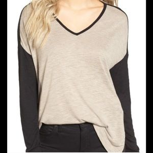 Madewell Anthem V neck colorblock black & tan